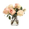 Distinctive Designs Waterlook Silk Roses and Rose Buds in Tall Glass Square