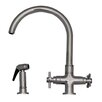 Whitehaus Collection Luxe+ Double Handle Faucet with Gooseneck Swivel Spout