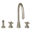 Whitehaus Collection Evolution Double Cross Handle Widespread Kitchen Faucet with Side Spray