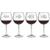 Susquehanna Glass Fish Assortment Red Wine Glass (Set of 4)