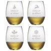 Susquehanna Glass Drink Up Be Merry Stemless Wine Glass (Set of 4)