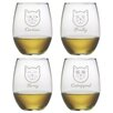 Susquehanna Glass Feline Faces Stemless Wine Glass (Set of 4)