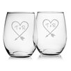 Susquehanna Glass Carved Heart Stemless Wine Glass (Set of 2)