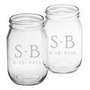 Susquehanna Glass Dot Monogram and Date Drinking Jar (Set of 2)