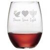 Susquehanna Glass Peace Love Light 4 Piece Stemless Wine Glass (Set of 4)