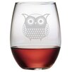 Susquehanna Glass Folk Art Owl Stemless Wine Glass (Set of 4)