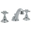 Rohl Country Double Handle Widespread Bathroom Faucet with Pop-Up Drain and Cross Handle