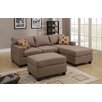 Poundex Bobkona Lexington Reversible Chaise Sectional Sofa with Ottoman