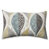 Pillow Perfect Woodblock Leaf Rain Cotton Throw Pillow