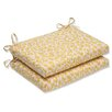 Pillow Perfect Snow Leopard Sunburst Outdoor Dining Chair Cushion (Set of 2)