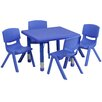 Flash Furniture 5 Piece Square Activity Table & Chair Set