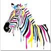 Antique Revival Technicolor Zebra Painting Print