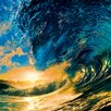 Eurographics Sunset Ocean Wave Photographic Print Glass Wall Art