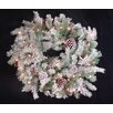 Tori Home Flocked Pine Cone Christmas Wreath with Lights