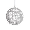 Tori Home Glittered Cut-Out Christmas Ball Ornament with Faux Pearl Accent