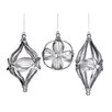 """Tori Home Set of 3 Sparkling Whites Silver Sequin Ball Onion & Finial Christmas Ornaments 6"""""""