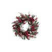 Tori Home Iced Cranberry Red Berry and Pine Cone Unlit Artificial Christmas Wreath