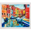 Tori Home 'Colorful Canal' by Celito Medeiros Framed Original Painting on Canvas