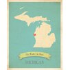 Children Inspire Design My Roots Michigan Personalized Map Paper Print