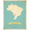 Children Inspire Design My Roots Brazil Personalized Map Gallery Wrapped on Canvas Art