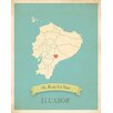 Children Inspire Design My Roots Ecuador Personalized Map Gallery Wrapped on Canvas Art