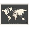 Children Inspire Design Vintage Personalized World Travel Map Graphic Art on Gallery Wrapped Canvas