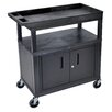 Luxor E Series Utility Cart with 2 Tub/1 Flat Shelves and Cabinet