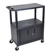 Luxor Fixed Height Presentation AV Cart with 3 Shelves and Cabinet
