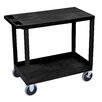 Luxor E Series Heavy Duty Utility Cart with 1 Tub and 1 Flat Shelves