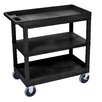 Luxor E Series Heavy Duty Utility Cart with 2 Tub and 1 Flat Shelves