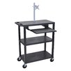 Luxor Presentation AV Cart with Pullout Shelf and Monitor Mount