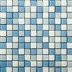 "Emser Tile Lucente 1"" x 1"" Glass Mosaic Tile in Ocean Mist and Crystal"