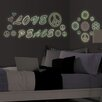 WallPops! MyStyle Glow in the Dark Peace Love Flowers Wall Decal Kit