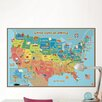 WallPops! Dry Erase Kids USA Map Wall Mural