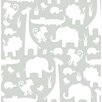 """WallPops! Its a Jungle in Here Peel and Stick 18' x 20.5"""" Wildlife Foiled Wallpaper"""