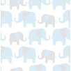 "WallPops! 18' x 20.5"" Elephant Parade Peel and Stick Wallpaper"