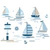 WallPops! Ships Ahoy 91 Piece Wall Decal Set