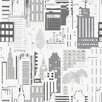 "Brewster Home Fashions Wall Vision 36.7' x 20.9"" Jacey City Motif Wallpaper"