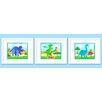 Olive Kids 3 Piece Dinosaur Land Personalized Framed Art Set