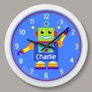 "Olive Kids Robots Personalized 12"" Wall Clock"