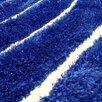 DonnieAnn Company Shaggy Blue Abstract Wave Area Rug