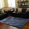 DonnieAnn Company 3D Shaggy Abstract 2-Tone Wavy Blue/Gray Area Rug