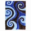 DonnieAnn Company 3D Shaggy Abstract Swirl Chocolate Area Rug