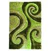 DonnieAnn Company 3D Shaggy Abstract Swirl Green Area Rug