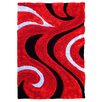 DonnieAnn Company 3D Shaggy Abstract Wavy Swirl Red Area Rug