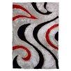 DonnieAnn Company 3D Shaggy Abstract Wavy Swirl Grey Area Rug