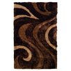 DonnieAnn Company 3D Shaggy Abstract Wavy Swirl Chocolate Area Rug