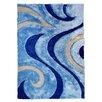 DonnieAnn Company 3D Shaggy Abstract Wavy Swirl Blue Area Rug