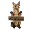 """Alpine Standing Fox with """"Welcome"""" Sign Statue"""