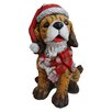 Alpine Dog wearing Santa Hat and Scarf Decor with 3 LED Lights